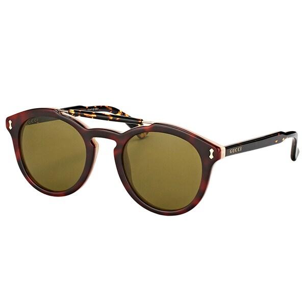 d1a50a18c27 Shop Gucci Unisex GG 0124S 004 Red Havana Brown Lens Sunglasses ...