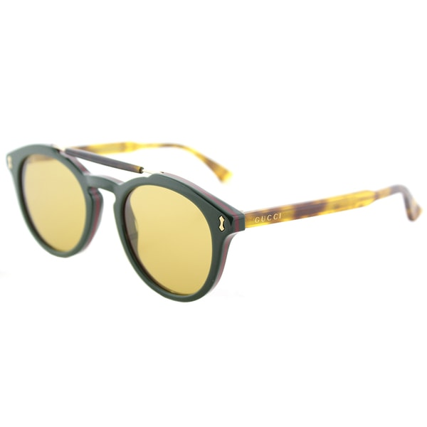01b80103f731d Gucci Unisex GG 0124S 005 Green Frame Brown Lens Round Sunglasses. Click to  Zoom