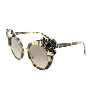 Miu Miu Cat-Eye Women's Light Havana Frame Brown Gradient Lens Sunglasses