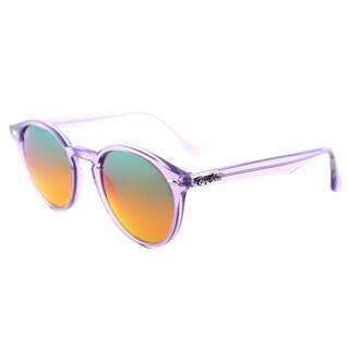 Ray-Ban Round RB 2180 6280A8 Women's Shiny Violet Frame Violet Orange Mirror Lens Sunglasses-49mm