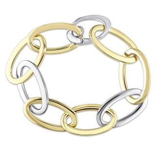 Miadora Signature Collection 2-Tone 18k White and Yellow Gold Oval Link Bracelet