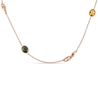Miadora Signature Collection 18k Rose Gold Multi-Gemstones Station Necklace
