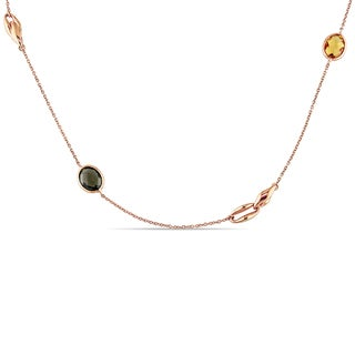 Miadora Signature Collection 18k Rose Gold Multi-Gemstones Station Necklace