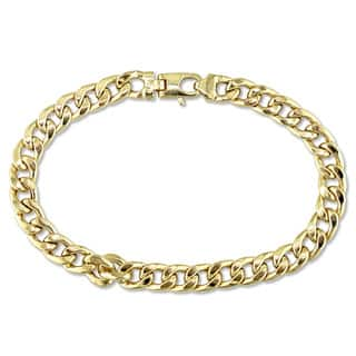 Miadora Signature Collection 18k Yellow Gold Men's Curb Link Bracelet|https://ak1.ostkcdn.com/images/products/16736309/P23048908.jpg?impolicy=medium