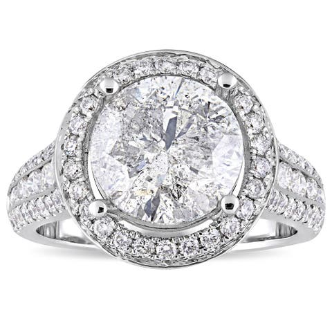 Miadora Signature Collection 14k White Gold 4-9/10ct TDW Channel and Buttercup-Set Diamond Halo Enga