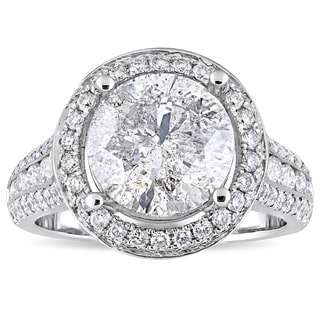 Miadora Signature Collection 14k White Gold 4-9/10ct TDW Channel and Buttercup-Set Diamond Halo Engagement Ring