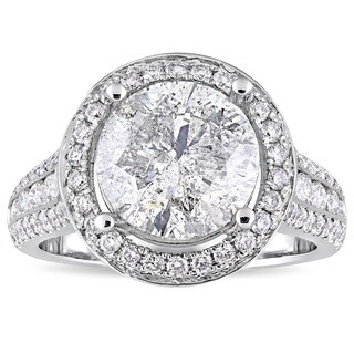 Miadora Signature Collection 14k White Gold 4-9/10ct TDW Channel and Buttercup-Set Diamond Halo Enga (5 options available)