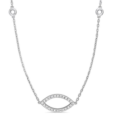 Miadora Signature Collection 14k White Gold 4/5ct TDW Diamond Open Marquise and Round-Shaped Stationed Necklace