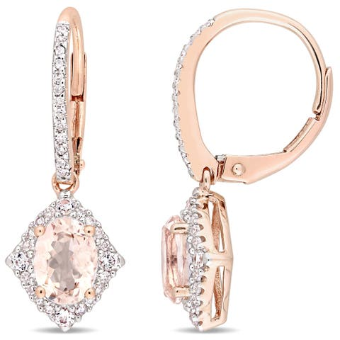 Exclusive - Morganite White Sapphire and 1/5ct TDW Diamond Vintage Leverback Earrings in 10k Rose Gold by Miadora - Pink