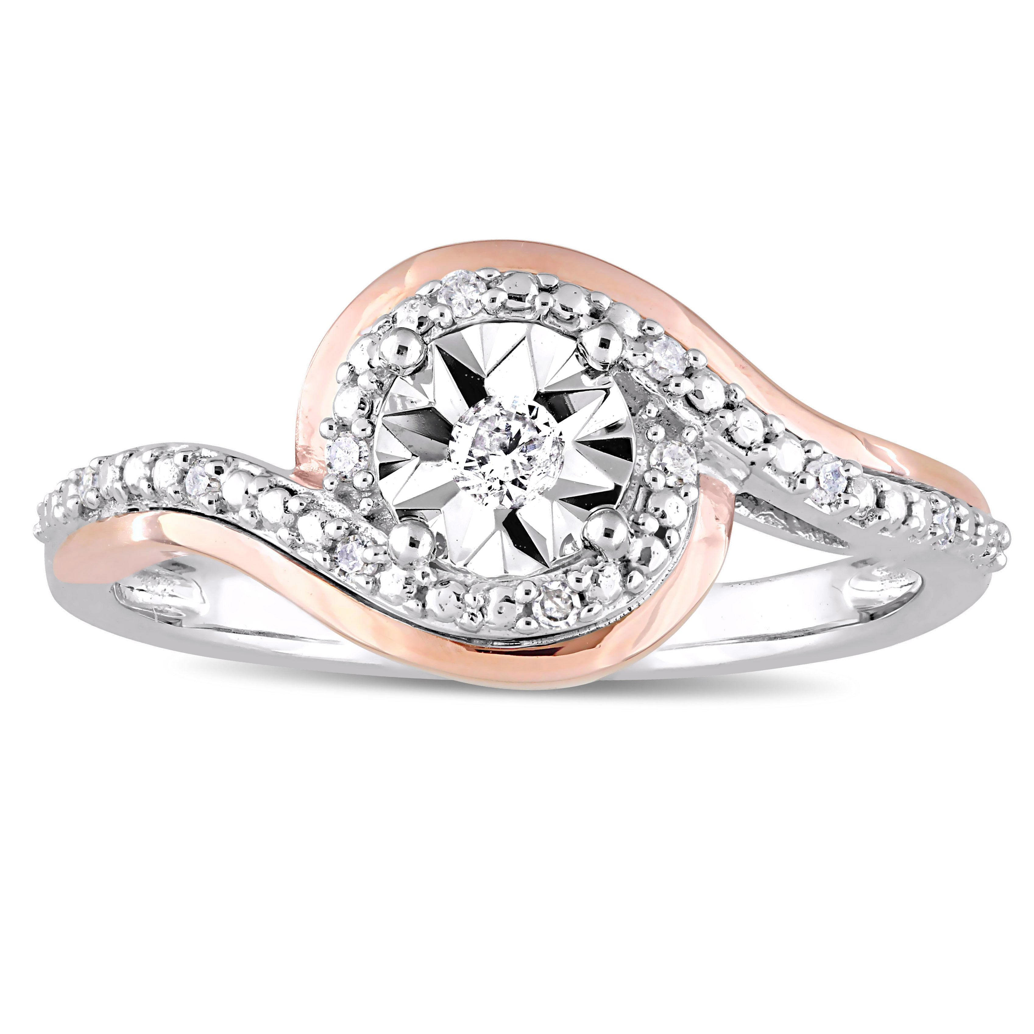 Miadora 2 Tone 10k White And Rose Gold 1 10ct Tdw Diamond Crossover Bypass Engagement Ring Overstock 16736985
