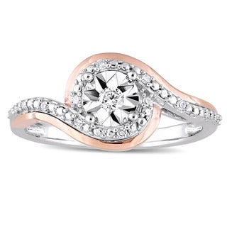 Miadora 2-Tone 10k White and Rose Gold 1/10ct TDW Diamond Crossover Bypass Engagement Ring