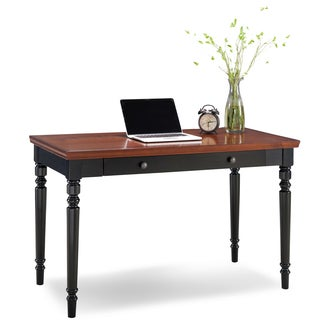 KD Furnishings Black 2-tone Turned Leg Center Drawer Laptop Desk