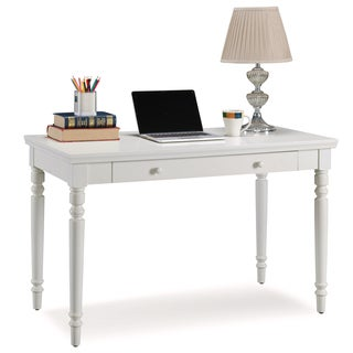 KD Furnishings Cottage White Turned leg Laptop Desk With Center Drawer