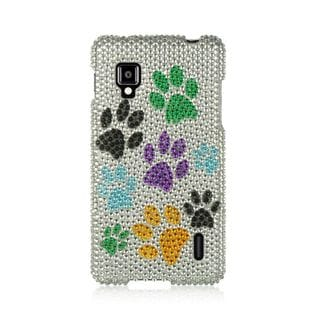 Insten Colorful Dog Paws Hard Snap-on Rhinestone Bling Case Cover For LG Optimus G LS970 Sprint