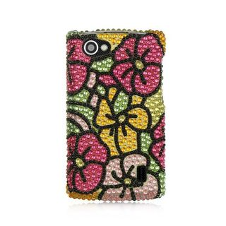 Insten Colorful Hawaii Flower Hard Snap-on Diamond Bling Case Cover For LG Optimus M+ MS695