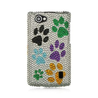 Insten Multi-Color Dog Paws Hard Snap-on Diamond Bling Case Cover For LG Optimus M+ MS695