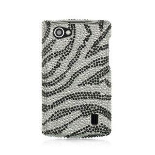 Insten Silver/Black Zebra Hard Snap-on Rhinestone Bling Case Cover For LG Optimus M+ MS695