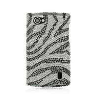 Insten Silver/Black Zebra Hard Snap-on Rhinestone Bling Case Cover For LG Optimus M+ MS695