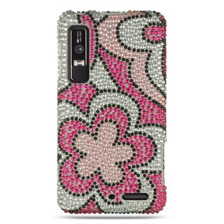 Insten Silver/Pink Flowers Hard Snap-on Diamond Bling Case Cover For Motorola Droid 3