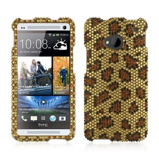 Insten Gold Leopard Hard Snap-on Diamond Bling Case Cover For HTC One M7