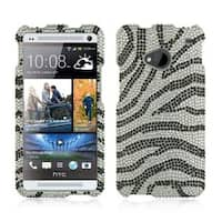 Insten Silver/Black Zebra Hard Snap-on Rhinestone Bling Case Cover For HTC One M7