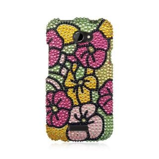 Insten Colorful Hawaii Flower Hard Snap-on Diamond Bling Case Cover For HTC One X