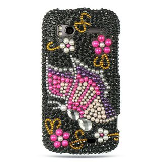 Insten Multi-Color 3D Butterfly Hard Snap-on Rhinestone Bling Case Cover For HTC Z710e / Sensation 4G / Pyramid