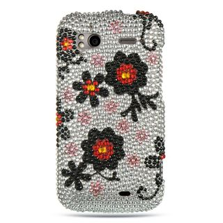 Insten Multi-Color Daisy Hard Snap-on Diamond Bling Case Cover For HTC Z710e / Sensation 4G / Pyramid