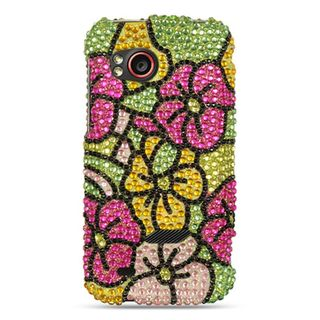 Insten Colorful Hawaii Flower Hard Snap-on Diamond Bling Case Cover For HTC Rezound / Vigor