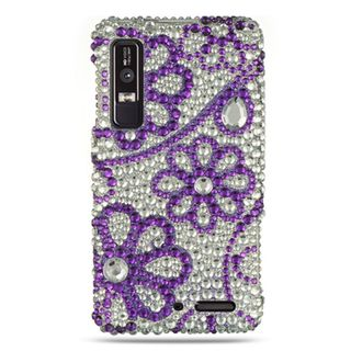 Insten Silver/Purple Flowers Hard Snap-on Rhinestone Bling Case Cover For Motorola Droid 3