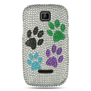Insten Multi-Color Dog Paws Hard Snap-on Rhinestone Bling Case Cover For Motorola Theory WX430