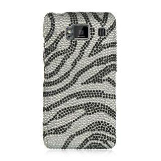 Insten Silver/Black Zebra Hard Snap-on Diamond Bling Case Cover For Motorola Droid Razr HD XT926