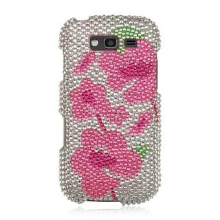 Insten Silver/Pink Flowers Hard Snap-on Rhinestone Bling Case Cover For Samsung Galaxy S Blaze 4G SGH-T769 (T-Mobile)
