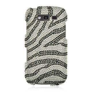 Insten Silver/Black Zebra Hard Snap-on Rhinestone Bling Case Cover For Samsung Galaxy S Blaze 4G SGH-T769 (T-Mobile)