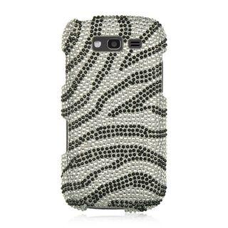 Insten Silver/Black Zebra Hard Snap-on Rhinestone Bling Case Cover For Samsung Galaxy S Blaze 4G SGH-T769 (T-Mobile)