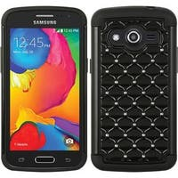 Insten Black Hard PC/ Silicone Dual Layer Hybrid Rubberized Matte Case Cover with Diamond For Samsung Galaxy Avant