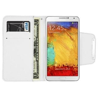 Insten White Leather Case Cover with Wallet Flap Pouch For Samsung Galaxy Note 3