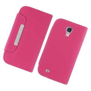 Insten Hot Pink Leather Case Cover with Wallet Flap Pouch For Samsung Galaxy S4 GT-i9500