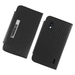 Insten Black Carbon Fiber Leather Case Cover with Stand/Wallet Flap Pouch/Photo Display For LG Google Nexus 4 E960