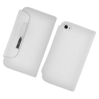 Insten White Leather Case Cover with Wallet Flap Pouch For Apple iPhone 4/4S