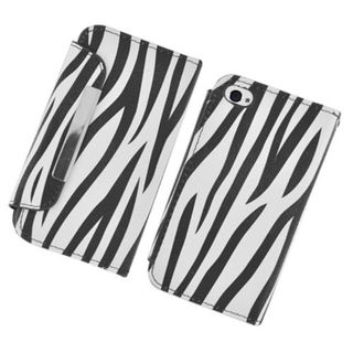 Insten Black/White Zebra Leather Case Cover with Wallet Flap Pouch For Apple iPhone 4/4S