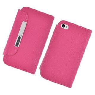 Insten Hot Pink Leather Case Cover with Wallet Flap Pouch For Apple iPhone 4/4S