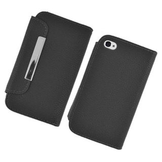 Insten Black Leather Case Cover with Wallet Flap Pouch For Apple iPhone 4/4S