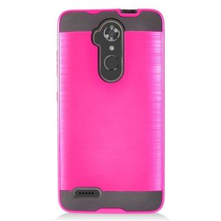 Insten Hot Pink/Black Chrome Hard Plastic Dual Layer Hybrid Brushed Case Cover For ZTE Max XL N9520