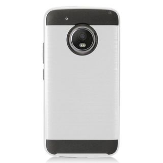 Insten Silver/  Black Chrome Hard Plastic Dual Layer Hybrid Brushed Case Cover For Motorola Moto G5 Plus