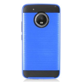 Insten Blue/  Black Chrome Hard Plastic Dual Layer Hybrid Brushed Case Cover For Motorola Moto G5 Plus