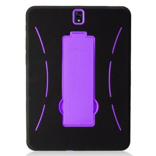 """Insten Black/  Purple Symbiosis Soft Silicone/   PC Dual Layer Hybrid Rubber Case with Stand For Samsung Galaxy Tab S3 9.7"""""""