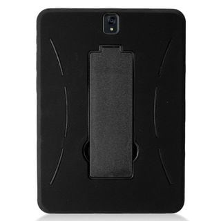 """Insten Black Symbiosis Soft Silicone/   PC Dual Layer Hybrid Rubber Case Cover with Stand For Samsung Galaxy Tab S3 9.7"""""""
