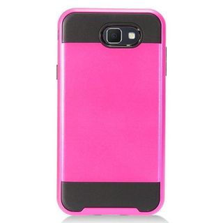 Insten Hot Pink/  Black Chrome Dual Layer Hybrid Case For Samsung Galaxy J7 (2017)/  J7 Perx/  J7 Prime/  J7 Sky Pro/  J7 V