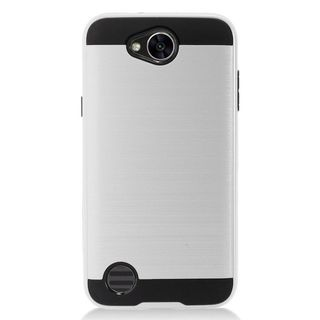 Insten Silver/  Black Chrome Hard Plastic Dual Layer Hybrid Brushed Case Cover For LG X Power 2